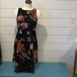 LOFT black floral sleeveless dress